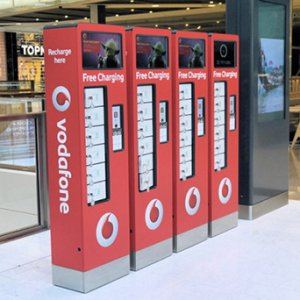 Vodafone branded mobile device charging stations