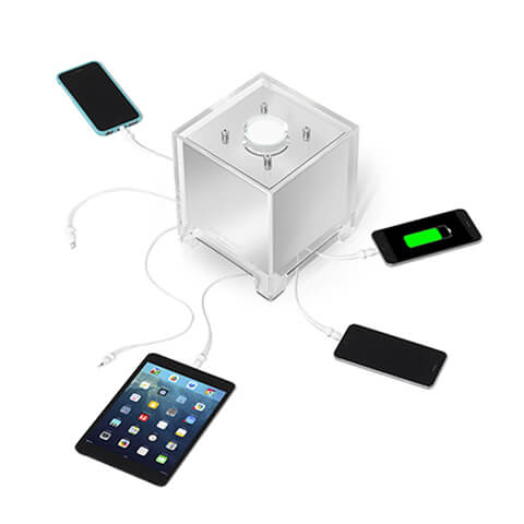 The QUBE charging multiple devices at the same time