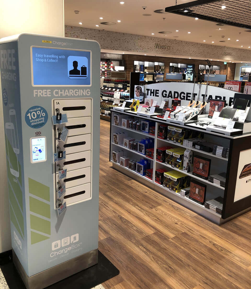 Schiphol Airport ChargeBox lock and Leave while shopping