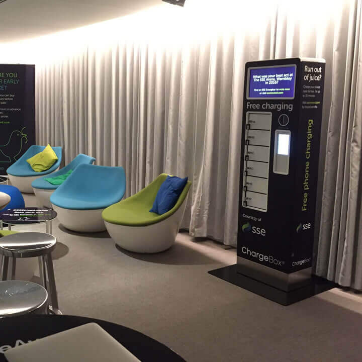 SSE sponsored ChargeBox in a lounge