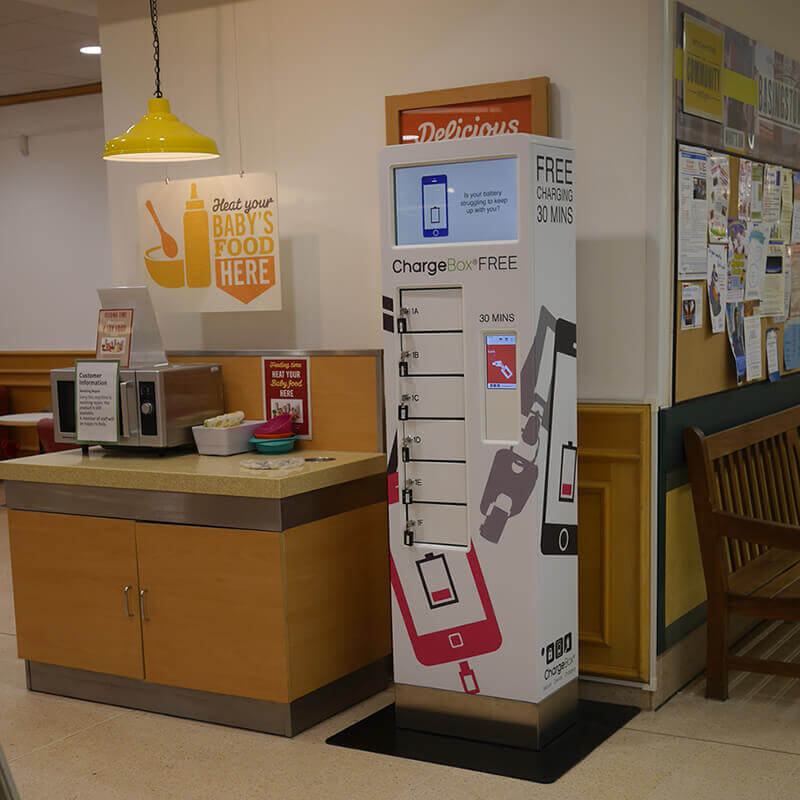 In-store mobile phone charging locker